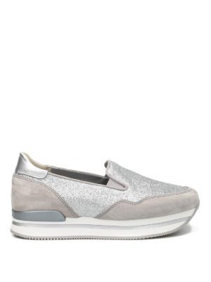 Hogan: Loafers & Slippers - H222 glitter and suede slip-ons