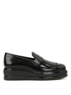 Hogan: Loafers & Slippers - H323 glossy leather fringed loafers