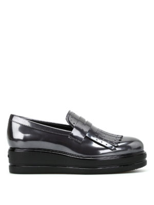 Hogan: Loafers & Slippers - H323 maxi wedge fringed loafers