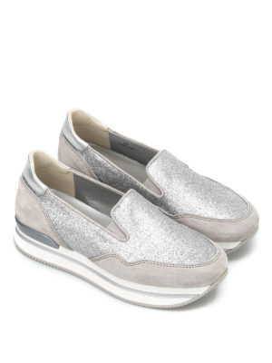 Hogan: Loafers & Slippers online - H222 glitter and suede slip-ons