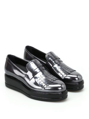 Hogan: Loafers & Slippers online - H323 maxi wedge fringed loafers