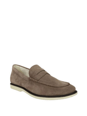 Hogan: Loafers & Slippers online - Light brown suede loafers