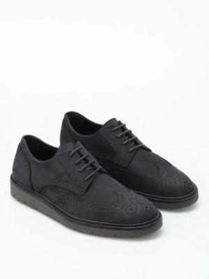 HOGAN: scarpe stringate online - Stringate H322 Derby in nabuk blu