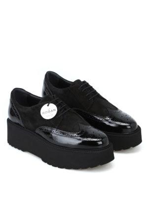 HOGAN: scarpe stringate online - Derby H355 nere con maxi suola