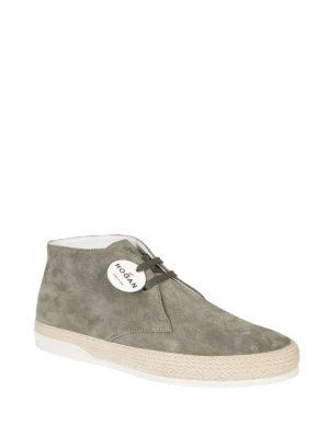 HOGAN: scarpe stringate online - Derby alto H358 in camoscio verde