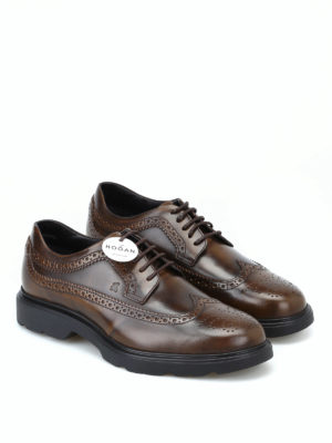 HOGAN: scarpe stringate online - Derby stringate H393 marroni con memory foam