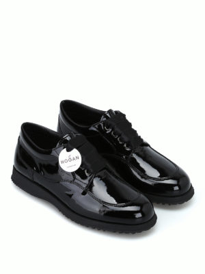HOGAN: scarpe stringate online - Stringate Traditional in vernice nera