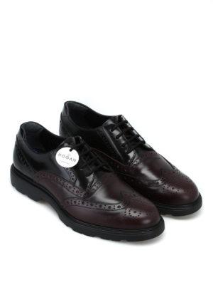 HOGAN: scarpe stringate online - Stringate Derby in pelle brogue bicolore
