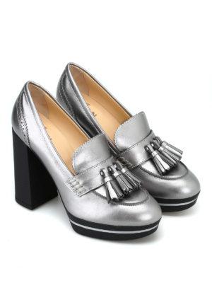HOGAN: Mocassini e slippers online - Mocassini con tacco alto in pelle laminata