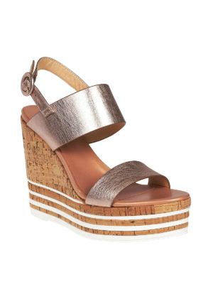 HOGAN: sandali online - Zeppe H361 in pelle metallizzata