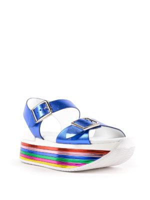 HOGAN: sandali online - Sandali H369 in pelle metallizzata