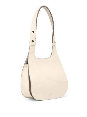 HOGAN: borse a spalla online - Borsa hobo bianca in pelle a grana