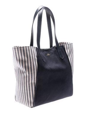 HOGAN: shopper online - Shopper in canvas blu con pelle