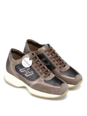 HOGAN: sneakers online - Interactive H Flock piccola beige e nera