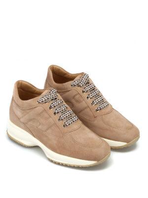HOGAN: sneakers online - Sneaker Interactive in camoscio beige chiaro