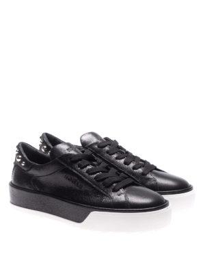 HOGAN: sneakers online - Sneaker nere in pelle con borchie