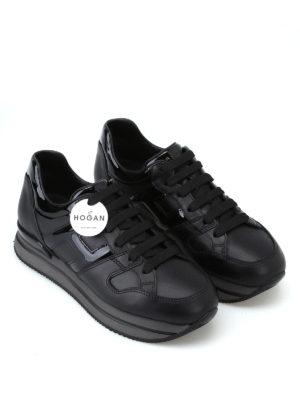 HOGAN: sneakers online - Sneaker H222 nere in pelle e vernice