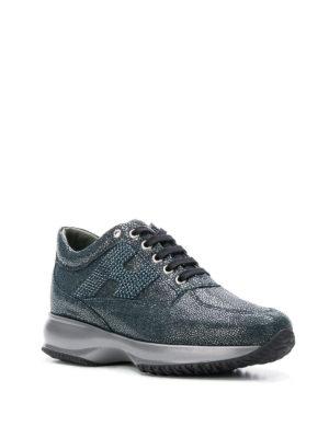 HOGAN: sneakers online - Sneaker Interactive blu con strass