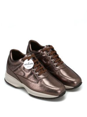 HOGAN: sneakers online - Sneaker Interactive in pelle laminata bronzo