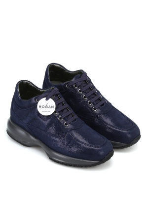 HOGAN: sneakers online - Interactive in suede blue shiny