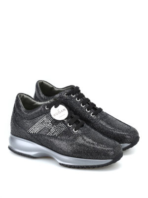 HOGAN: sneakers online - Interactive nere in suede con H in strass