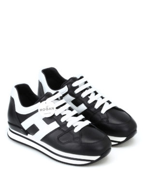HOGAN: sneakers online - Sneaker H222 nere e bianche in pelle