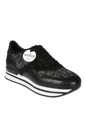 HOGAN: sneakers online - Sneaker H222 in pelle e camoscio con glitter