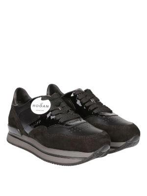 HOGAN: sneakers online - Sneaker H222 nere in camoscio e pelle