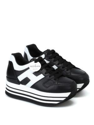 HOGAN: sneakers online - Sneaker nere e bianche H283 in pelle
