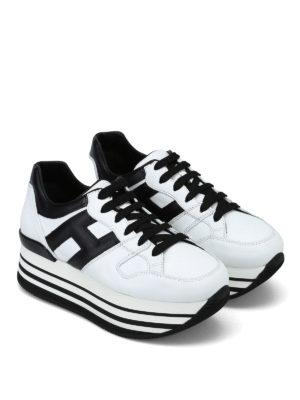 HOGAN: sneakers online - Sneaker bianche e nere H283 in pelle