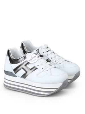 HOGAN: sneakers online - Sneaker bianche e grigio piombo H283 in pelle
