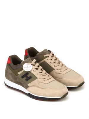 HOGAN: sneakers online - Sneaker H321 beige e oliva