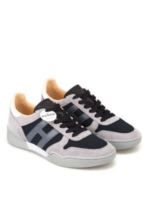 HOGAN: sneakers online - Sneaker H357 blu e grigie in suede