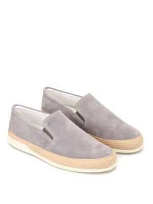 HOGAN: sneakers online - Slip on H358 in suede grigia