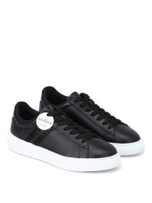 HOGAN: sneakers online - Sneaker H365 nere in pelle effetto craquelé