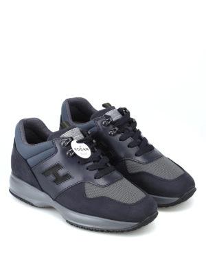 HOGAN: sneakers online - Sneaker Interactive blu in pelle e nabuk
