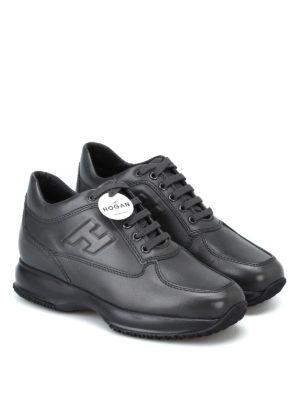 HOGAN: sneakers online - Sneaker Interactive in pelle nero fumo