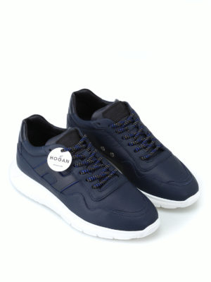 HOGAN: sneakers online - Sneaker Interactive³ in pelle blu scura
