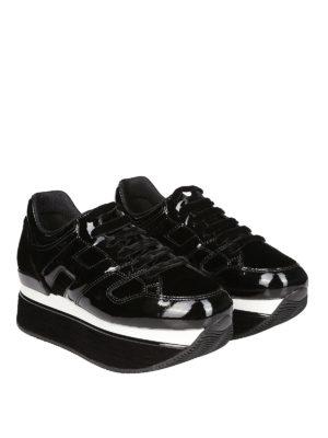 HOGAN: sneakers online - Maxi H222 nere in vernice e velluto