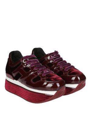HOGAN: sneakers online - Maxi H222 in vernice e velluto bordeaux