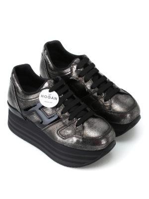 HOGAN: sneakers online - Sneaker Maxi H222 in pelle effetto craquelé