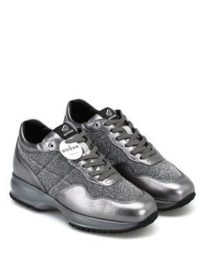 HOGAN: sneakers online - Sneaker Interactive in pelle laminata e lurex