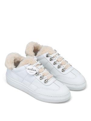 HOGAN: sneakers online - Sneaker in pelle con dettagli in montone