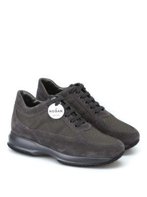 HOGAN: sneakers online - Interactive grigie in suede e tessuto tecnico