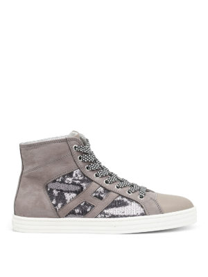 Hogan Rebel: trainers - R141 sequin and leather shoes