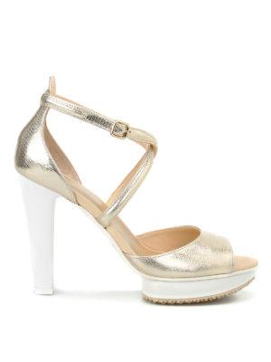 Hogan: sandals - H247 crackled leather sandals