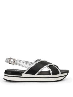 Hogan: sandals - H257 crisscross black sandals