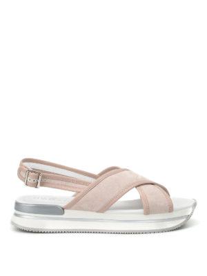 Hogan: sandals - H257 crisscross suede sandals