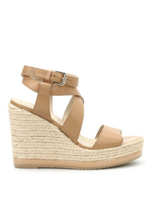 Hogan: sandals - H286 jute wedge leather sandals
