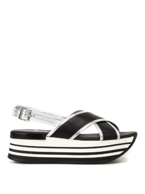 Hogan: sandals - H294 crisscrossed bands sandals